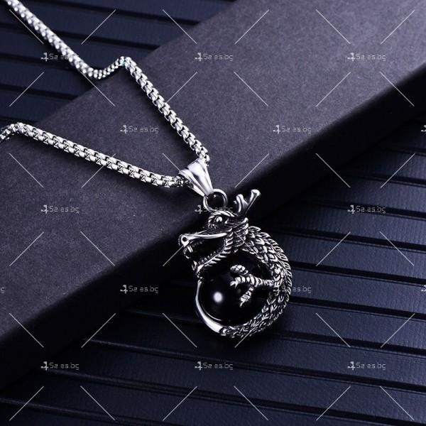 Интересна висулка дракон с красив камък с декорация камък в различни цветове NSD8 7