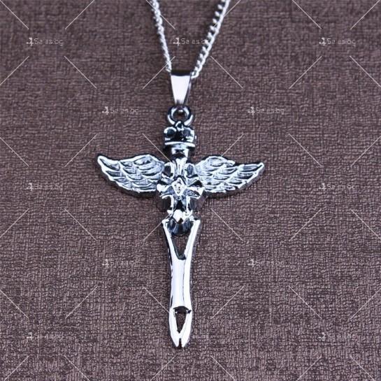 Моден синджир с висулка кръст с ангелски крила NSD10
