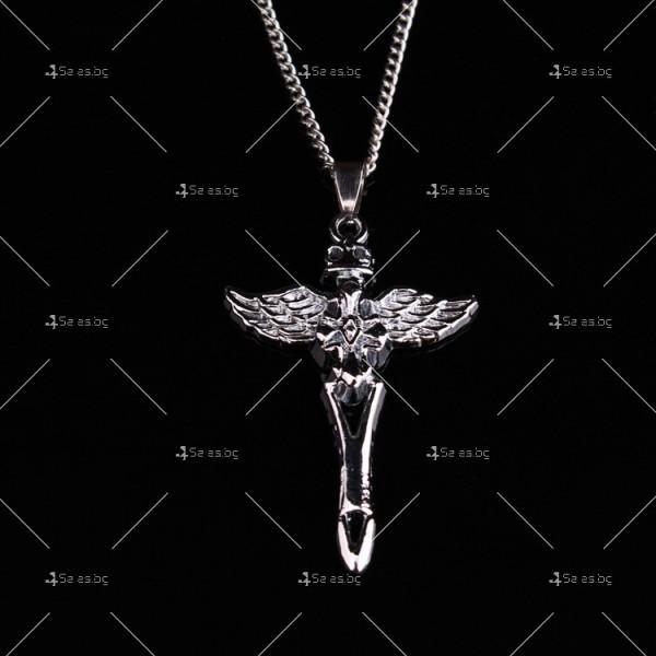 Моден синджир с висулка кръст с ангелски крила NSD10 4