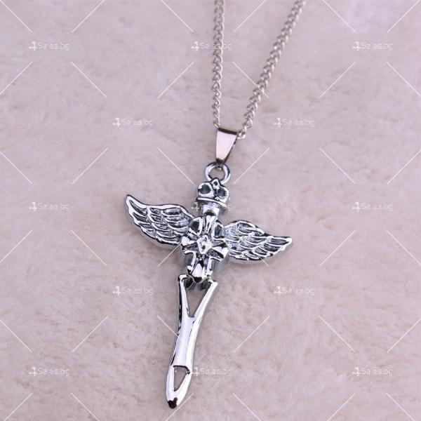Моден синджир с висулка кръст с ангелски крила NSD10 5