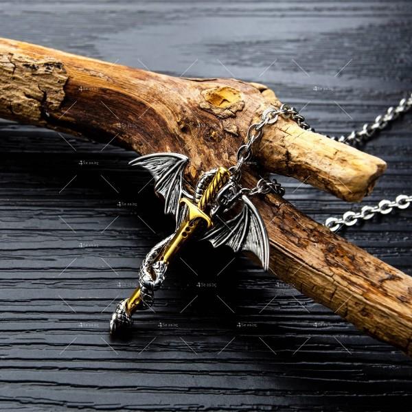 Моден синджир с висулка меч с дракон NSD15 6