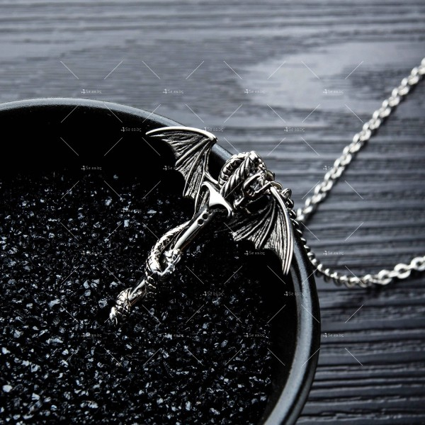 Моден синджир с висулка меч с дракон NSD15 7