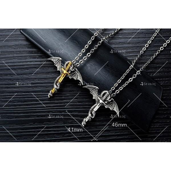 Моден синджир с висулка меч с дракон NSD15 8