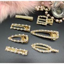 Елегантна дамска фиба за коса, златиста с перли и кристали - F60