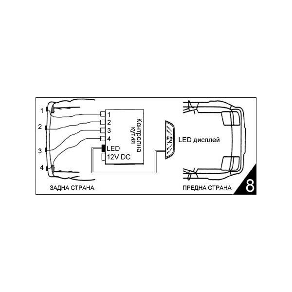 Парктроник за кола с 4 сензорни датчика PK1 12