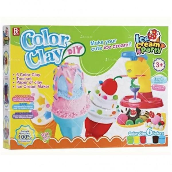 Детска машина за правене на сладолед + 6 броя нетоксична глина