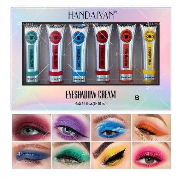 Комплект от 6 броя кремообразни сенки за очи Handaiyan HZS330 4