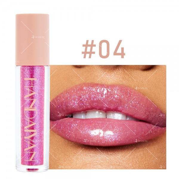 Гланц за устни с лек цвят и бляскави частици Handaiyan HZS331 4