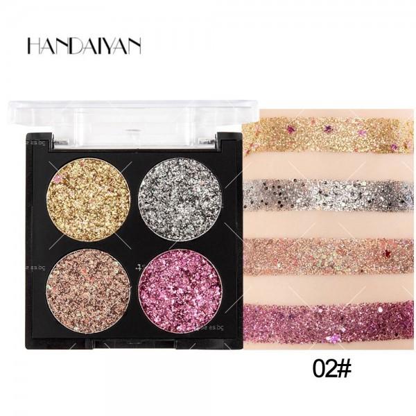 Водоустойчива диамантена палитра сенки за очи с 4 броя цвята Han Daiyan HZS335 2