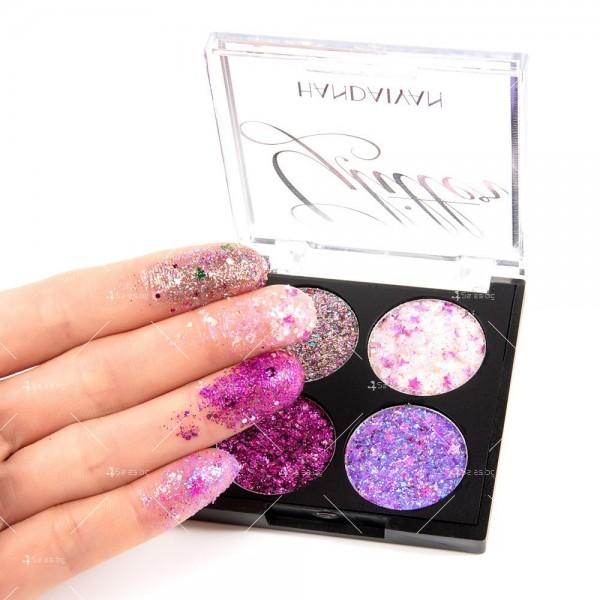 Водоустойчива диамантена палитра сенки за очи с 4 броя цвята Han Daiyan HZS335 7
