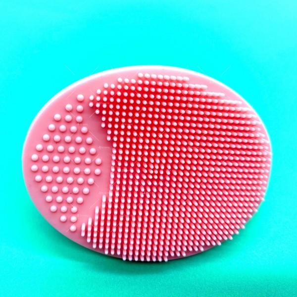 Овална силиконова четка с дръжка за почистване на лице HZS342