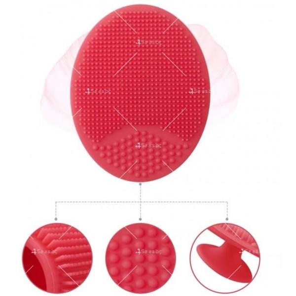 Овална силиконова четка с дръжка за почистване на лице HZS342 8