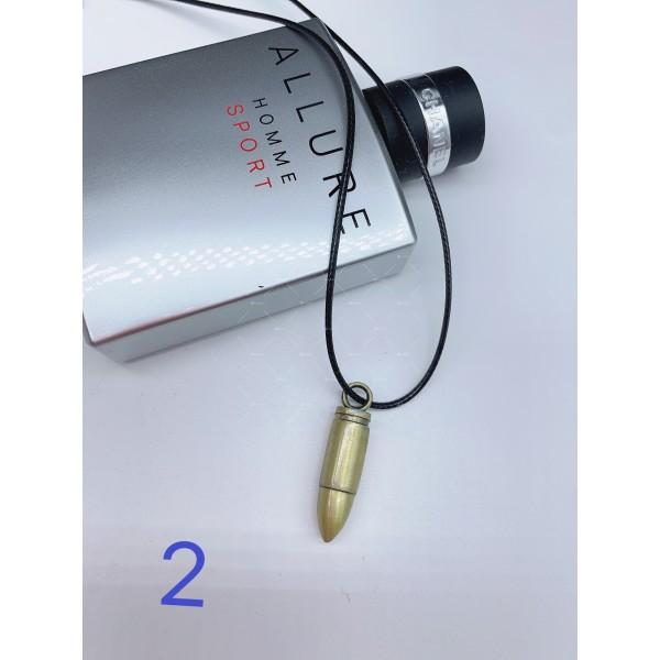Колие с тънка кожена верижка и висулка куршум NSD27 2