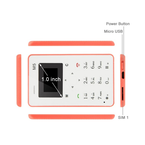 AEKU M5 ултра тънък мобилен телефон с цветен дисплей 7