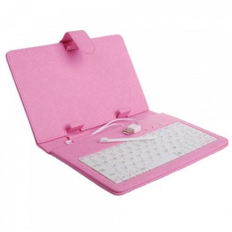 Розова клавиатура калъф за таблет 7 инча универсал