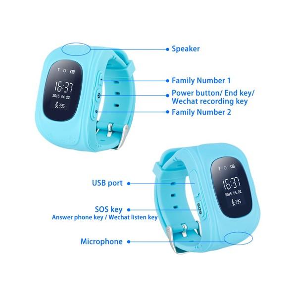 GPS часовник -телефон за деца - тракер за проследяване smart watch q50 16