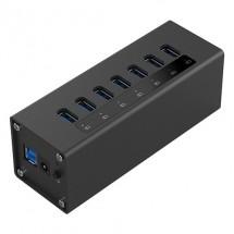 Алуминиев 7 портов USB 3.0 хъб Orico с 12V2.5A захранващ адаптер, CA63