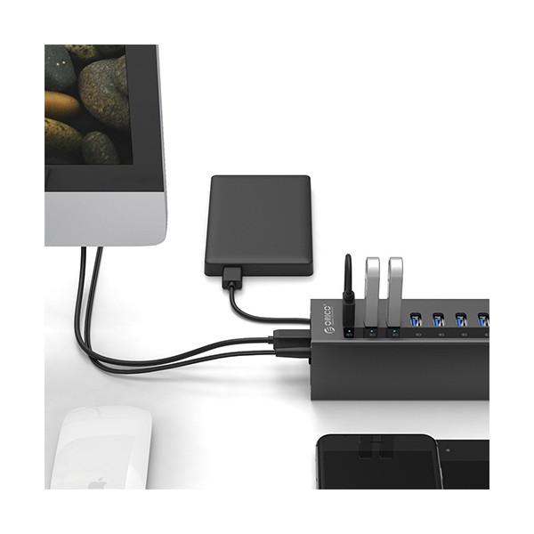 Алуминиев 7 портов USB 3.0 хъб Orico с 12V2.5A захранващ адаптер, CA63 2