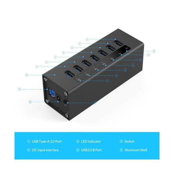 Алуминиев 7 портов USB 3.0 хъб Orico с 12V2.5A захранващ адаптер, CA63 3