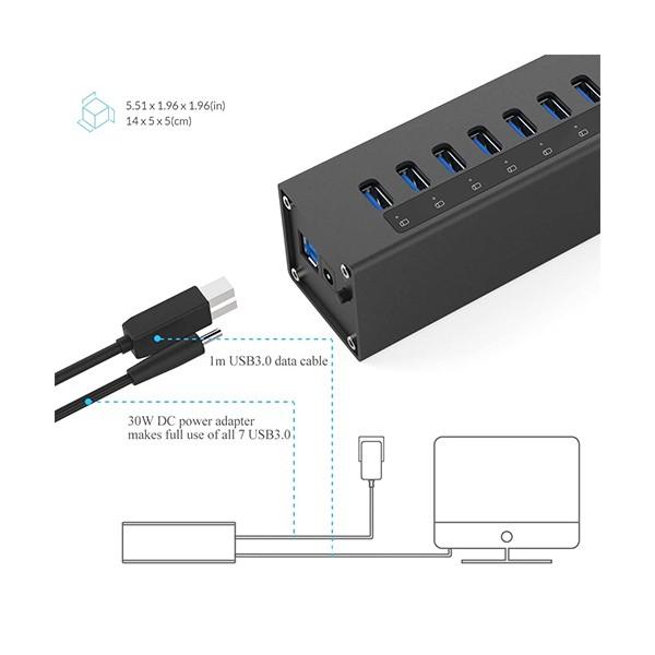 Алуминиев 7 портов USB 3.0 хъб Orico с 12V2.5A захранващ адаптер, CA63 4