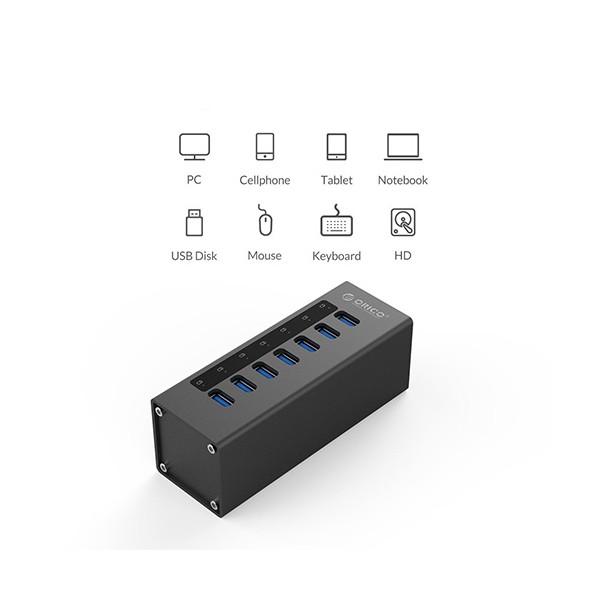 Алуминиев 7 портов USB 3.0 хъб Orico с 12V2.5A захранващ адаптер, CA63 5
