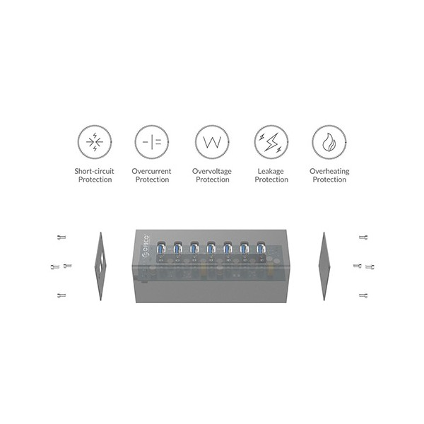 Алуминиев 7 портов USB 3.0 хъб Orico с 12V2.5A захранващ адаптер, CA63 6