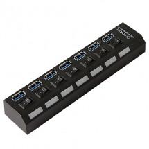 USB разклонител със 7 входа и индивидуални ключове CA63