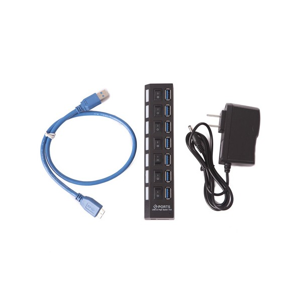 USB разклонител със 7 входа и индивидуални ключове CA63 6