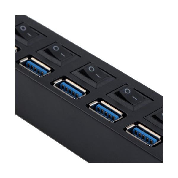 USB разклонител със 7 входа и индивидуални ключове CA63 8