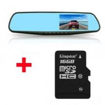 Видеорегистратор огледало за задно виждане - 4.3 инча +Карта памет Micro SD 16GB