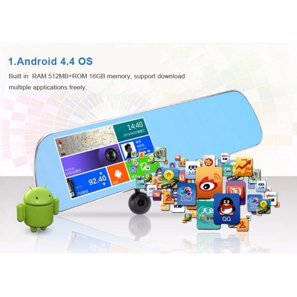 Видеорегистратор с Android OS 4.4.2 Датчик за движение Автоматичен презапис -8Mpx 15