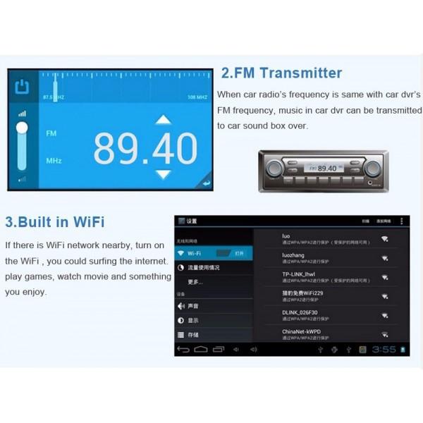 Видеорегистратор с Android OS 4.4.2 Датчик за движение Автоматичен презапис -8Mpx 7